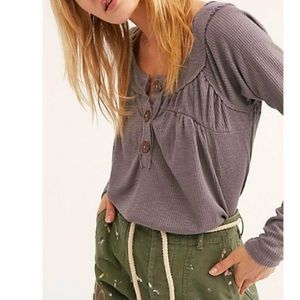 Free People Must Have Henley Top Gray Size Small